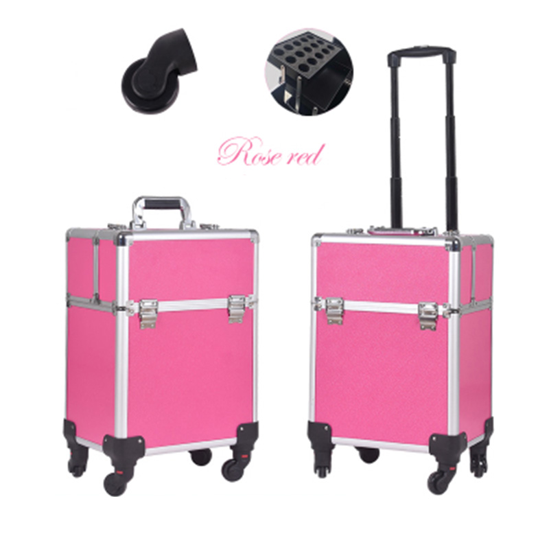 Brand cosmetic luggage profession travel Trolley Makeup Box Beauty Case professional Luggage Suitcase Bag makeup Universal Wheel tensunvis makeup case aesthetic black professional universal wheels trolley cosmetic box makeup case the best beauty case black