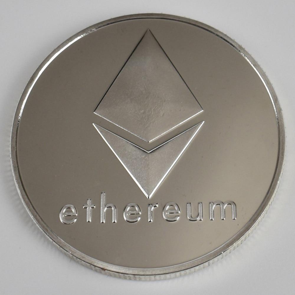 Позолоченные Биткоин Бит монета пульсация Litecoin эфириум коллекция подарок 40 мм криптовалюта монета металлическая памятная монета - Цвет: silver ethereum