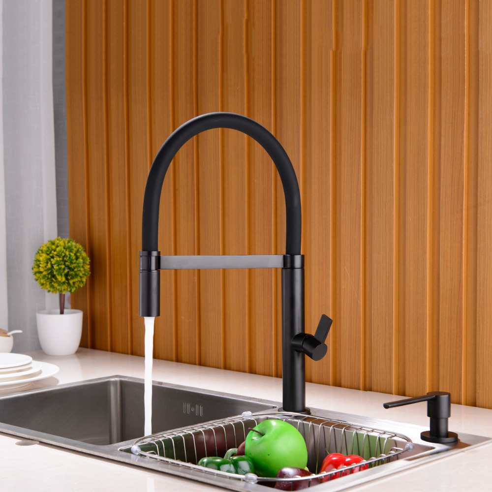 Black & Chrome Solid Brass Spring Kitchen Faucet Sink Mixer Tap Swivel Spout Mixer Tap Hot and Cold Water Torneira golden brass kitchen faucet dual handles vessel sink mixer tap swivel spout w pure water tap