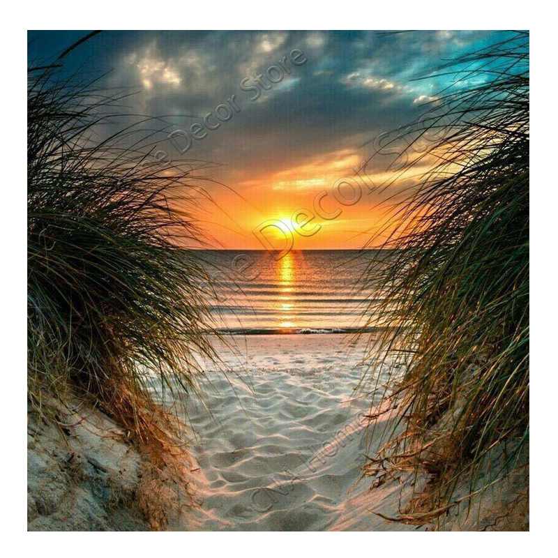 RM0009 The setting sun beach 5D diamond cross stitch kit DIY diamond painting set embroidery rhinestone square diamond wall home