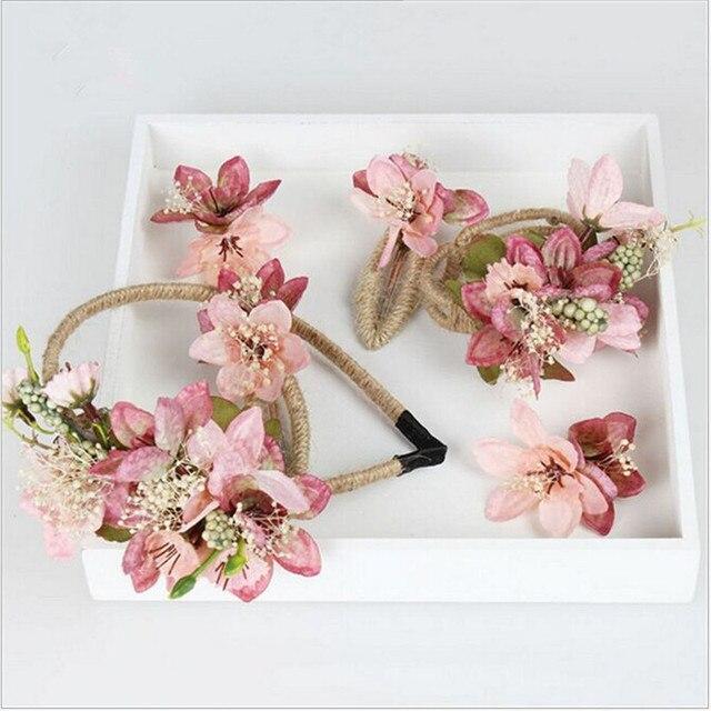 4 colores Flores Tocado de tres piezas de la Corona Diadema Diadema De Princesa Regalo de La Joyería Del Pelo de La Boda Accesorios Vestido de Novia de La Corona