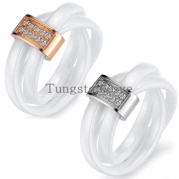 Fashion White Ceramic Rope with Silver & Gold Tone Metal & Cubic Zirconia Tricyclic Engagement Rings For Women Wedding Band king double krn a5t 5 zirconia ceramic utility knife w sheath red white