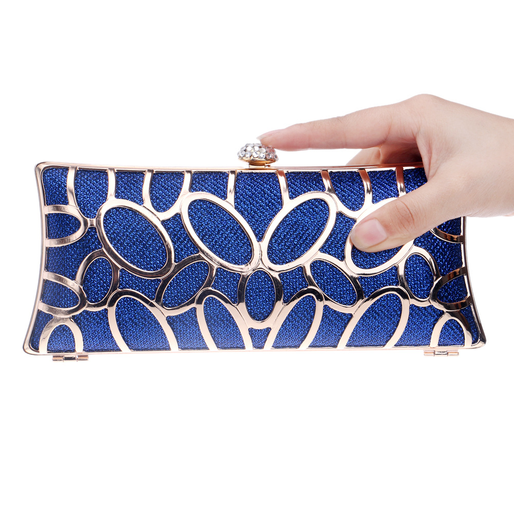 New Alloy Evening Bags Women Clutch Female Diamonds Metal Hollow Out Style Mixed Color Chain Shoulder Purse Evening Bags