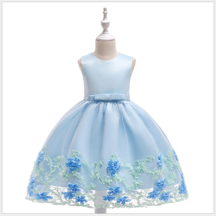 flower girl big bow-knot party dress elegant birthday wedding princess dress children's clothing at prom of honor цены онлайн