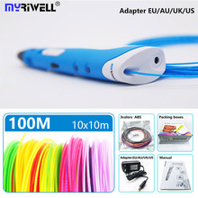 myriwell 3d pen rp 100a 1 75mm abs filament pla 3d printed pen 3 d pen Smart Child birthday gift Toys abs plastic 3D handle cheap Blue yellow orange gray 2A 110 240V 220 x 170 x 69 mm PLA ABS 1 75mm US UK EU AU 0 75mm 3d printing pen Adjustable