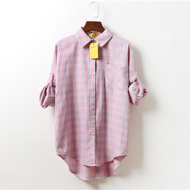 bff0509bd00e Autumn Women Korean ulzzang leisure wild lapel loose long-sleeved thin  section plaid shirt for