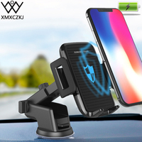 XMXCZKJ Wireless Charger Car Mount Mobile Phone Holder Support For iPhone XS Max XR X 8 Samsung Fast Charging Smartphone Stand