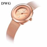DWG Brand Relogio Feminino Quartz Watch Women Ladies Luxury Wrist Watch Zinc Alloy Case Stainless Steel