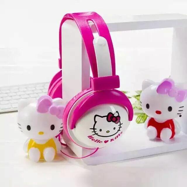 Cute Cartoon Hello Kitty 3.5mm Stereo Mega Bass Headband Headphone Headset Kawaii Big Earphone For Phones With Microphone