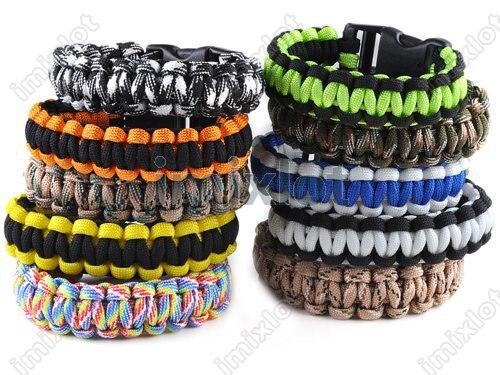 Wholesale - Cobra BRACELETS KIT Military Emergency 20PCS Survival Bracelet 550 King Charm Bracelets Unisex 7 Colors