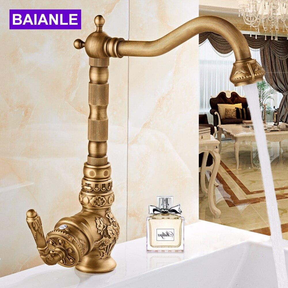 Contemporary Single Handle 360 Degree swivel faucets art carve antique bronze bathroom tap pool faucet Kitchen antique faucet