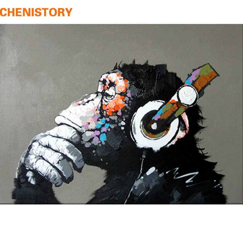 Chenistory абстрактная Обезьяна DIY Краска ing по номерам домашний настенный художественный Рисунок краска по номерам картина с каллиграфией 40x50 см произведение искусства