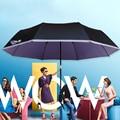 Three pure black rubber folding umbrella outdoor umbrellas UV sunscreen umbrella sunshade For all the boys and girls