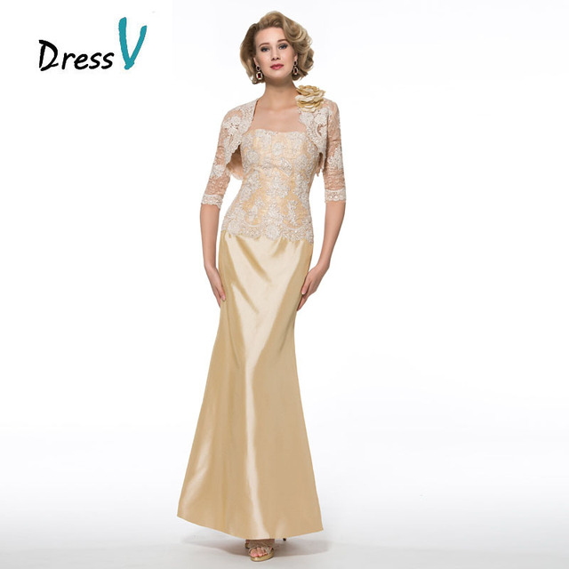 Elegant Plus Size Gold Mother Of The Bride Dresses With Lace Jacket