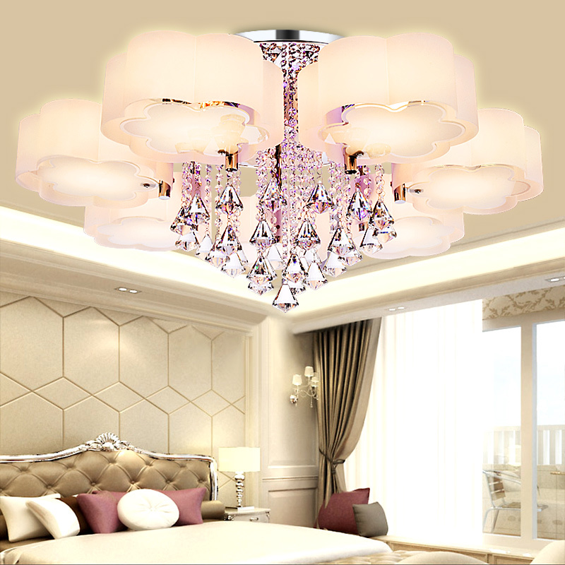 Crystal Led Ceiling Lights modern fashionable design dining room lamp pendente de teto de cristal white shade acrylic lustre modern led ceiling light indoor lighting round lustre de cristal teto creative personality dining room balcony led ceiling lamp