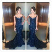 sparkly scoop navy blue mermaid evening dresses long sequin dress custom made elegant high quality party 2014