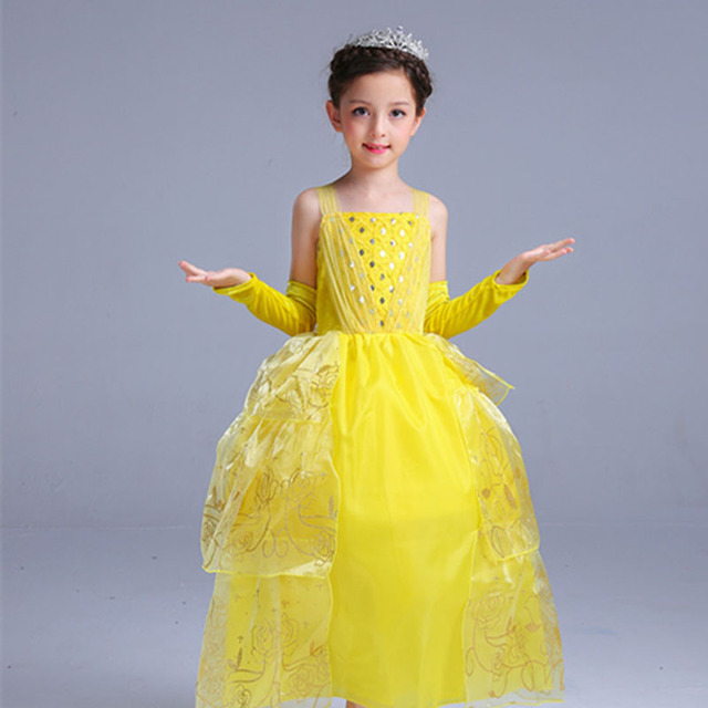 Girls Princess Belle Dress Up Costume Kids Sleeveless Yellow Party