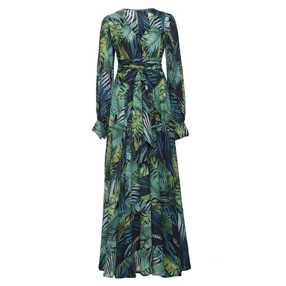 Uzun kollu elbise Yeşil Tropikal Plaj Vintage Maxi Elbiseler Boho Rahat V Boyun Kemer Dantel Up Tunik Dökümlü Artı Boyutu Elbise