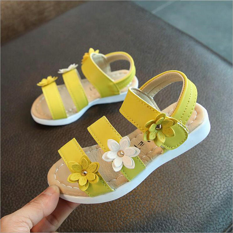 2019 New Cute Baby Summer Flat Sandals Toddlers Kids Girls Sandals With Flowers Party Beach Sandals Princess Shoes EU Size 21-36