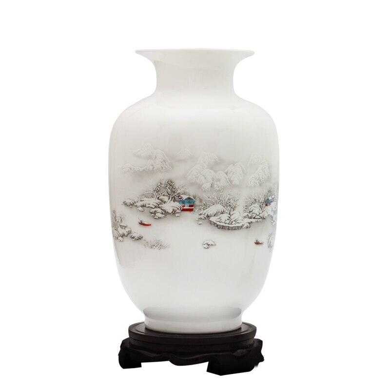 Starožitné sněhové scenérie Váza starověké způsoby Jingdezhen Keramická váza pro umělé květinové dekorace vázy