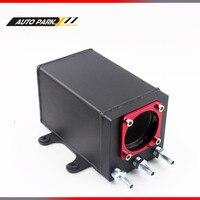 60mm external 044 fuel pump tank racing black Billet aluminium AN6 fitting oil catch can fuel surge tank