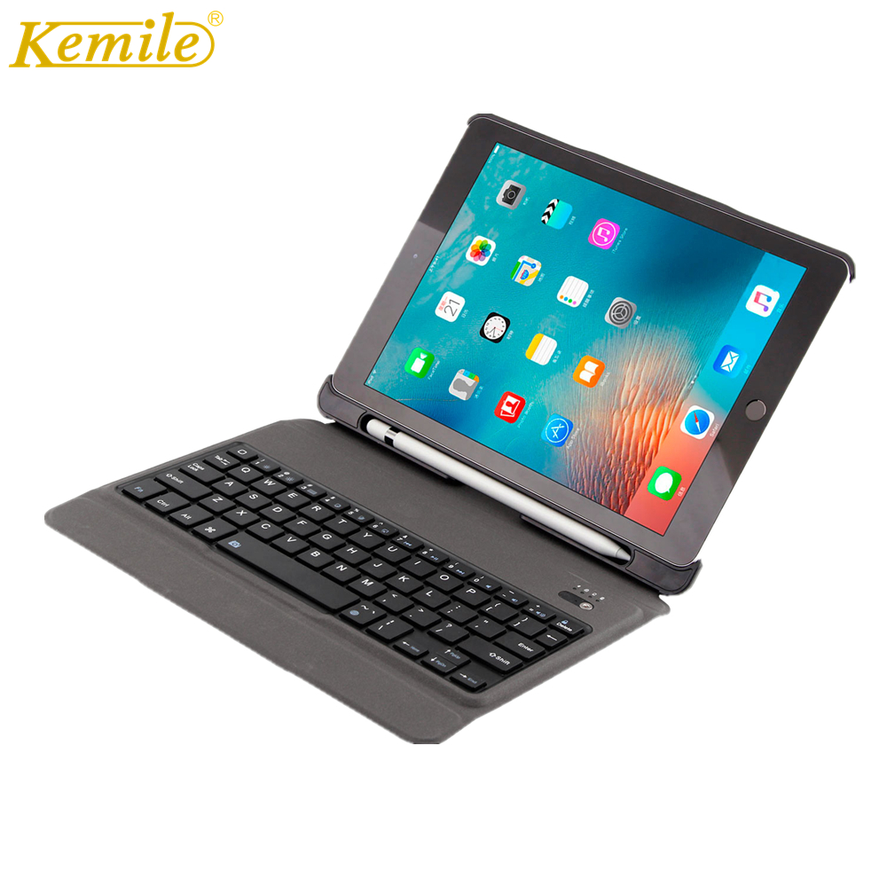 Ultra Slim Bluetooth Keyboard For iPad 2017 2018 9.7 W Pencil Holder Stand Leather Cover For iPad Pro 9.7 tablet Keypad klavyeUltra Slim Bluetooth Keyboard For iPad 2017 2018 9.7 W Pencil Holder Stand Leather Cover For iPad Pro 9.7 tablet Keypad klavye