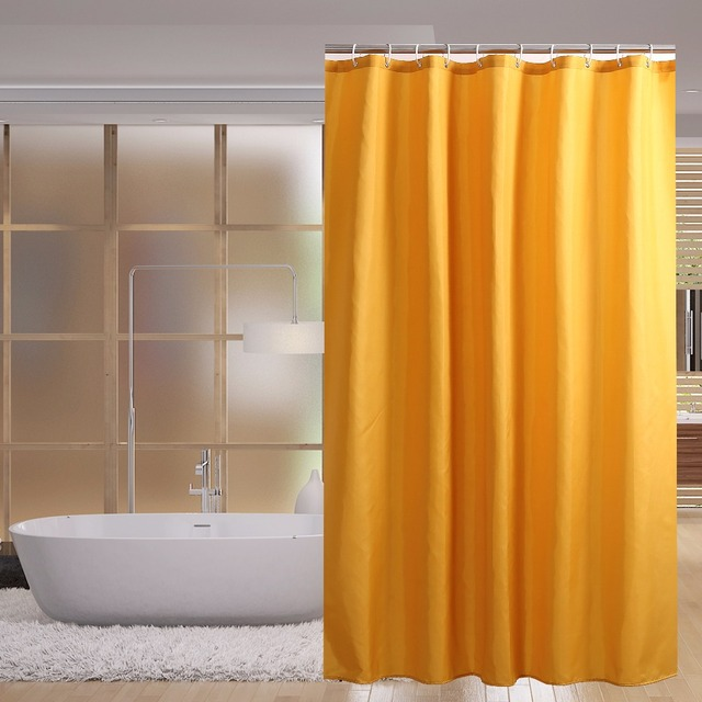 Yellow Solid European Shower Curtain Bath Screens Polyester Waterproof YouTube Recommend Curtains In The Bathroom