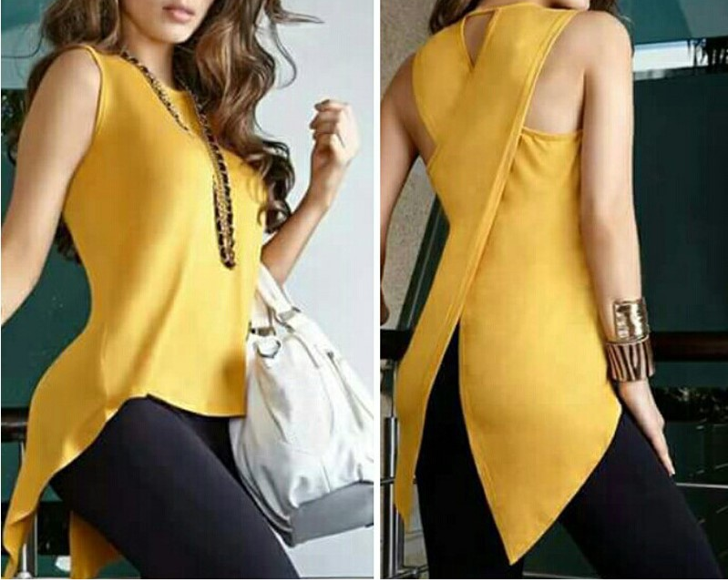 Summer Yellow Blouses Sleeveless Ladies Top Cross Irregular O-Neck Woman Blouse Female Shirt Tops Tank 3XL 2019 OL Elegant Wear
