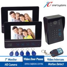 """Una Cámara de Dos Monitores RFID Sistema de Control de Acceso de la Puerta Con Cable Video de La Puerta Teléfono 7 """"Pantalla LCD a Color Para Casa/Apartamento/Oficina"""