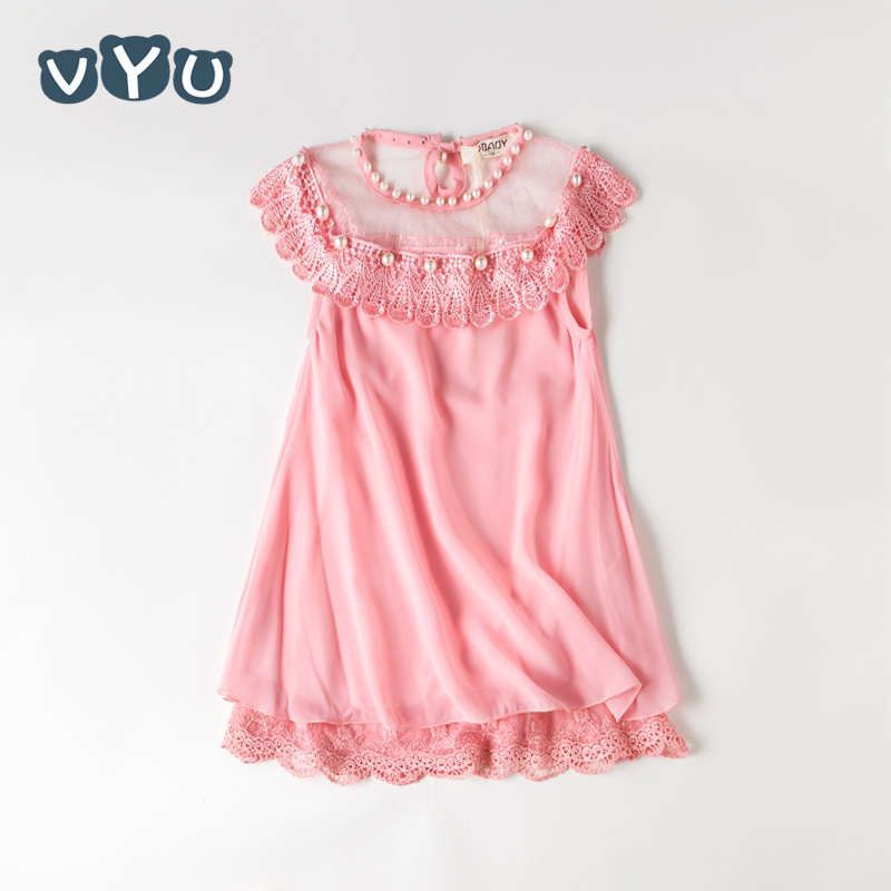 VYU New Summer Costume Princess Girls Dress Children's Prom Clothing Kids Chiffon Lace Dresses Baby Girl Party Dress With Pearl