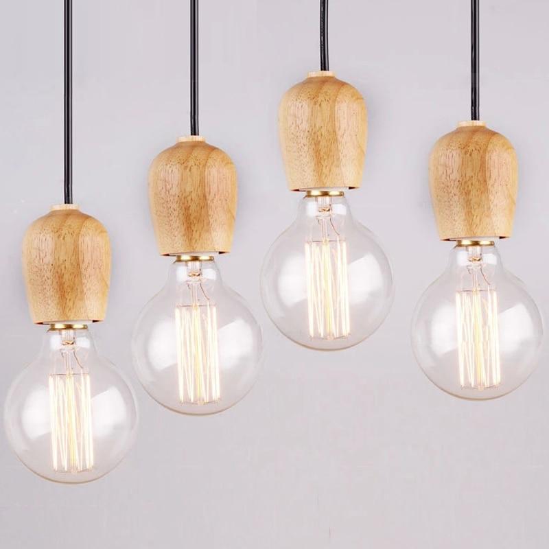 Модрен Одиночні оригінальні підвісні світильники для мистецтва Ретро Едісон Лампа Тканини Кабель E27 Дерев'яні підвісні лампочки для підвіски Лампа