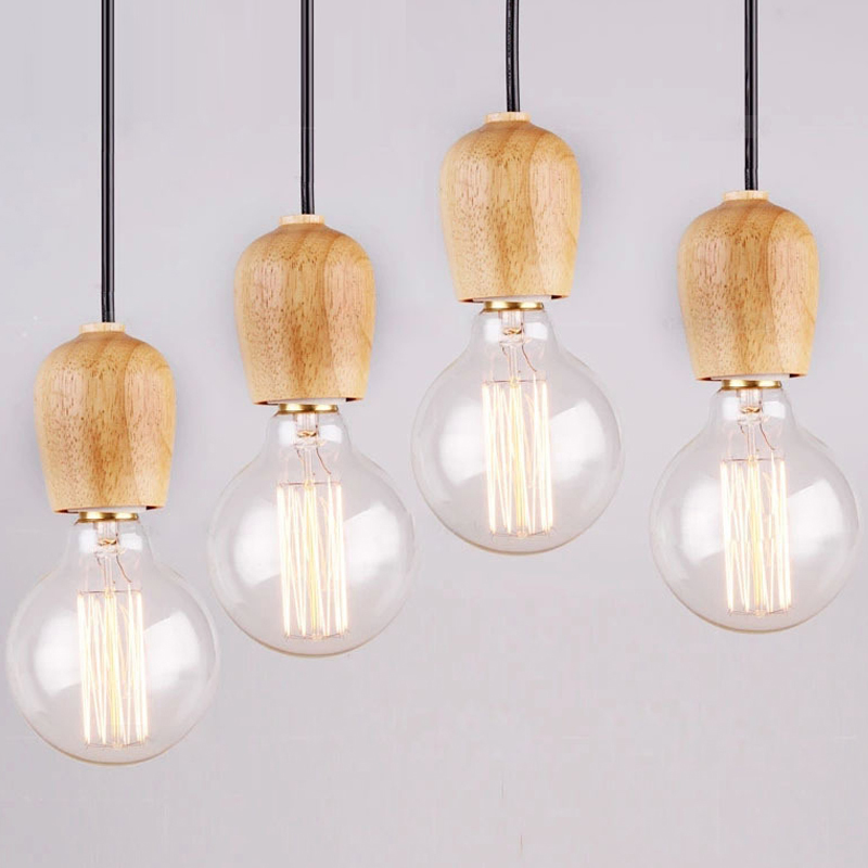 modren single original wood pendant lights art retro edison lamp fabrics cable e27 wooden hanging light bulb holder pendant lamp