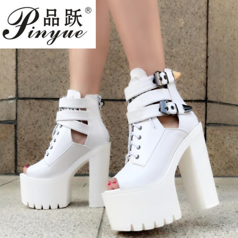 Korean version of the super high classic fish mouth booties thick with the stage high heel