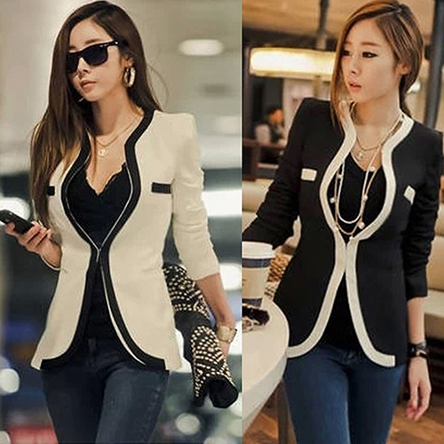 New Arrival Women's Fashion Business Coat Slim Fit Suit Blazer Pockets Long Sleeve Top