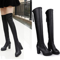Fashion Women Sexy Flock High Thick Heels Platform Round Toe Riding Boots Women Shoes Woman Over The Knee Boots Flock Zipper