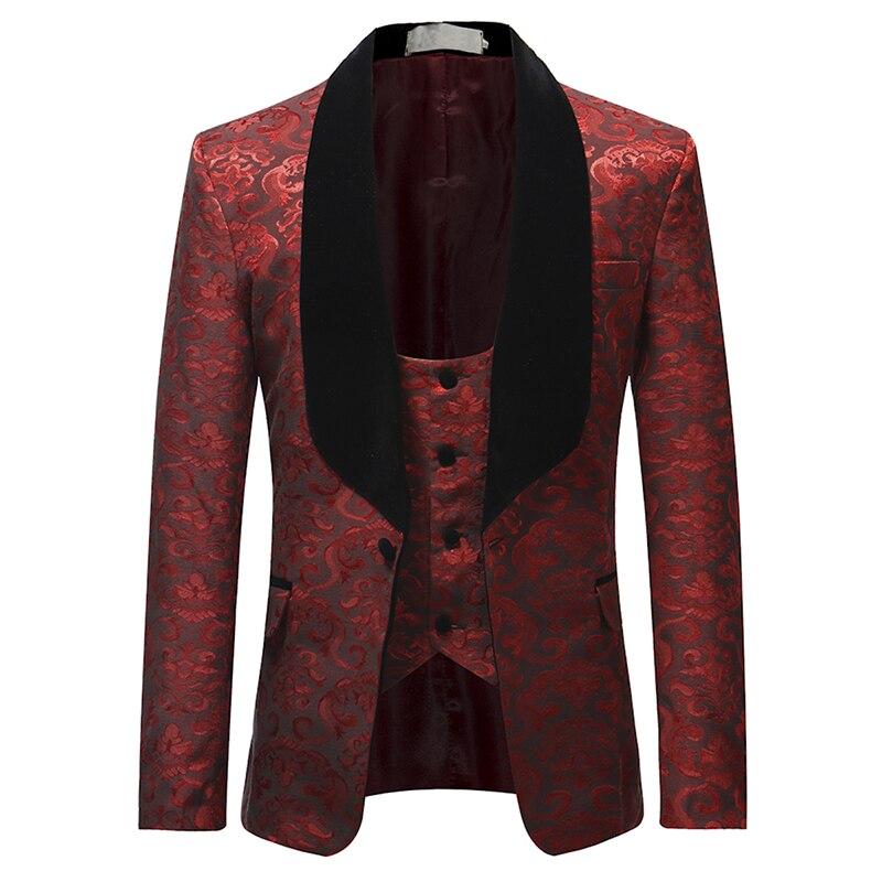 Белый, красный ободок, сценическая одежда для мужчин, мужской костюм, мужские свадебные костюмы, костюм, смокинг жениха, официальный (пиджак ... - 3
