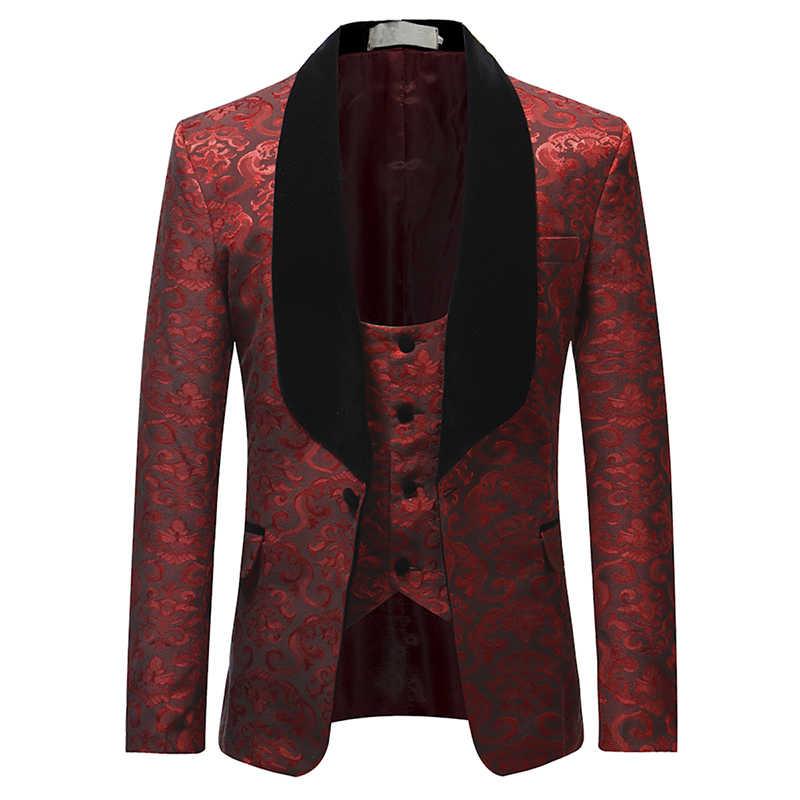 bc7e5c9bdb8 ... YUNCLOS бордовый красный костюм для мужчин 2019 Slim Fit шаль воротник  Костюмы Для свадебной моды жаккардовые ...