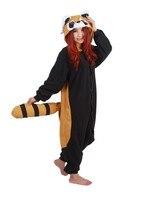 Adults Winter Flannel Cute Cartoon Animal Raccoon Raccon Kigurums Footed Pajamas Onesie Red Panda Cosplay Costume
