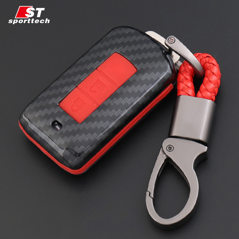 Car Styling Keychain For Mitsubishi Lancer EVO/ASX/Pajero/Eclipse/Zinger/Montero sport 2 Button Car Key Ring Case Cover Holder