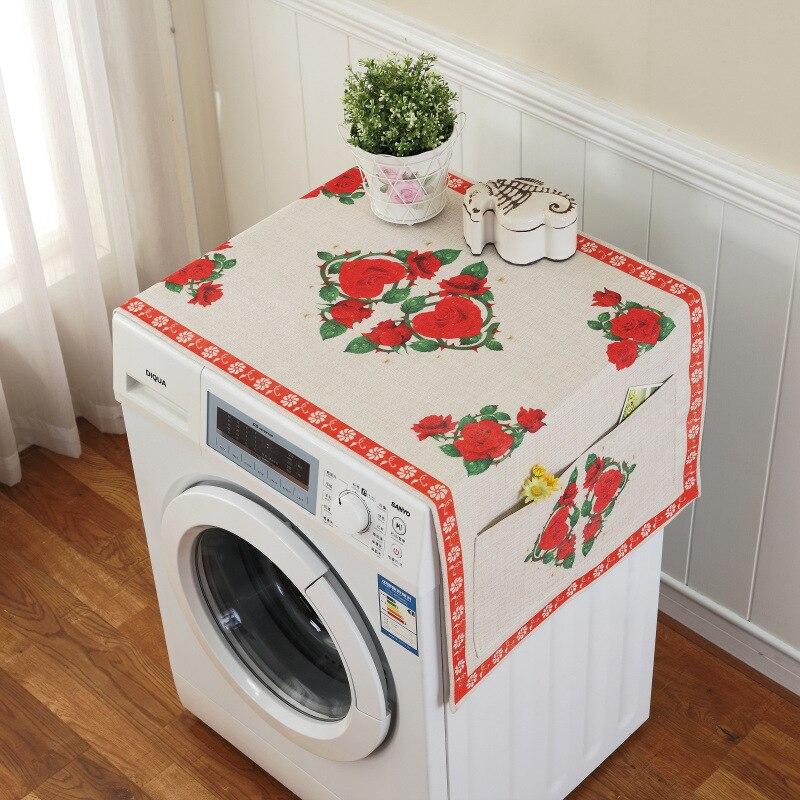 Ретро Европейский цветочный принт стиральная машина пылезащитный чехол для холодильника с карманом для хранения льняной ткани ремесло 1 шт./лот FC119