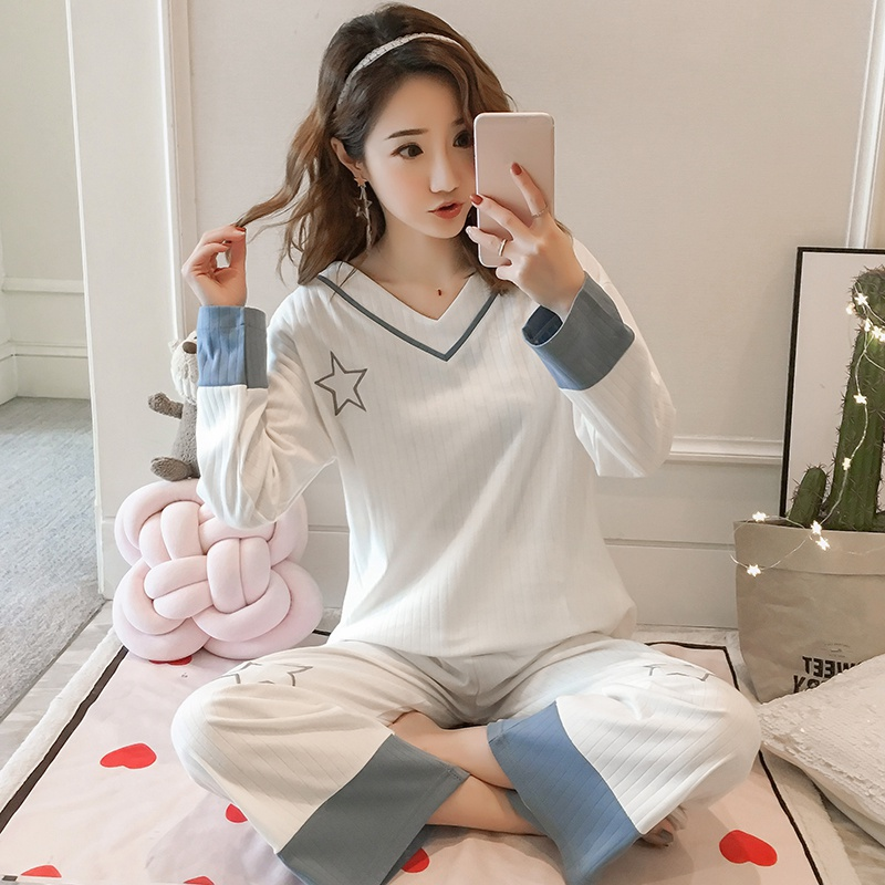 2019 New Spring 100% Cotton V-neck Pajama Sets For Women Long Sleeve Casual Striped Sleepwear Homewear Pijama Mujer Home Clothes