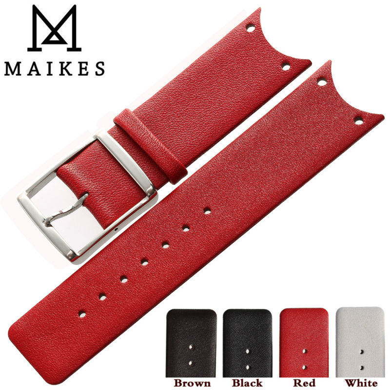 MAIKES New Fashion Red Genuine Calf Hide Leather Watch Strap Band Accessories Watchband For CK Calvin