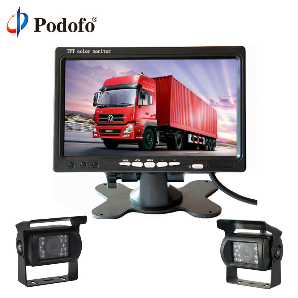 Podofo Ultra Slim 7 HD TFT LCD Monitor + Rear view Camera Parking Night Vision Waterproof Backup Camera For Bus Truck RV Traile dual backup camera and monitor kit for bus truck rv ir led night vision waterproof rearview camera 7 lcd rear view monitor