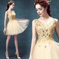 Dourado brilhante Com Decote Em V Curto Mini Tulle Prom Vestidos Top Sem Mangas e com Penas Lace Up de Volta vestidos de Festa vestidos de Dama de honra