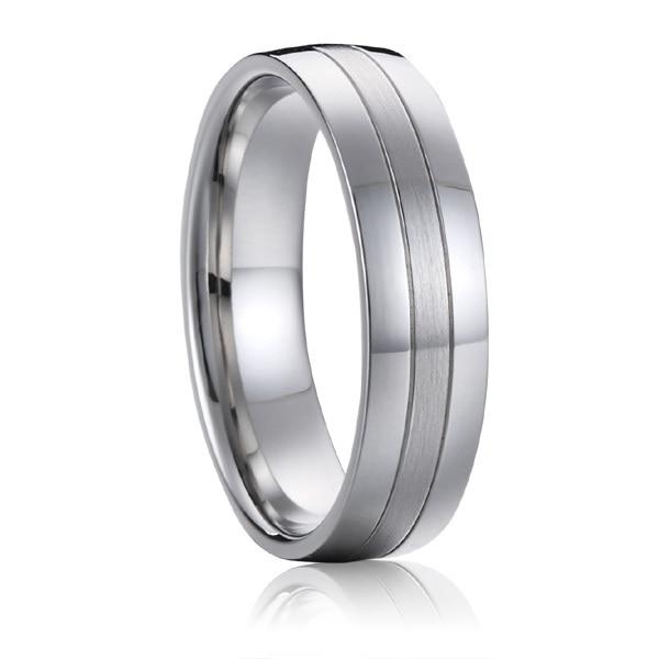 Titanium nakit poročni pas moški obletnica modni prstan belo zlato - Modni nakit - Fotografija 5