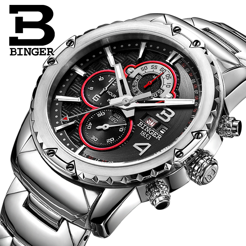 BINGER Fashion Chronograph Sport Mens Watches Top Brand Luxury Military Stainless Steel Strap Quartz Watch Relogio Masculino howard miller howard miller 630 200