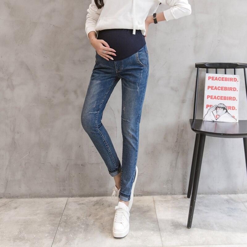 344f56a4d 6603   lavado Denim Skinny maternidad Jeans 2019 otoño moda vientre lápiz  pantalones ropa para mujeres embarazadas pantalones de embarazo