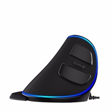 Delux M618 Plus Wired Vertical Mouse Ergonomic Blue Light 1600 DPI Optical Mouse for Computer Laptop Office Gaming