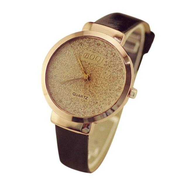 Gold Bracelet watches Women Luxury Brand Sands Starry Leather Strap Quartz watch