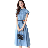 Summer 2018 Women Denim Dress Elegant Short Sleeve Tunic Office Party Dresses Casual Jeans Vestidos With Belt Large Size CM2866
